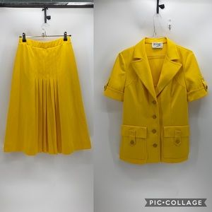 Vintage Butte Knit jacket and skirt set yellow